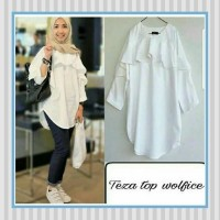 Baju Muslim Wanita / Baju Wanita / Tunik / Blouse Putih / Teza Top