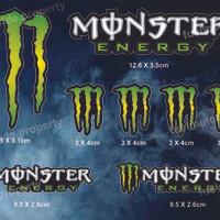 Sticker Monster Energy Set utk custom Helm Motor ARAI SHOEI CBR NINJA