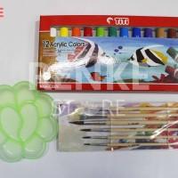 Paket Menggambar / Lukis - Cat Acrylic / Akrilik Titi Kuas Palet Set
