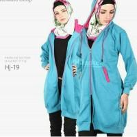 Jaket Distro hijabers Murah turkis blue list pink