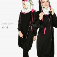 Jaket distro murah hijabers black list pink
