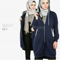 Jaket murah distro hijabers Navy list grey