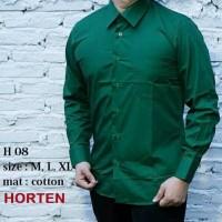 kemeja pria hijau tua polos lengan panjang bahan katun halus