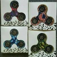YVI93 Pattern Fidget Spinner Toys Mainan Tri Bar Flip Hand Spiner Moti