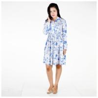 Midi Vintage Rayon Dress Lengan Panjang Floral Biru
