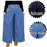 Celana Panjang Kulot Jeans polos  List Motif