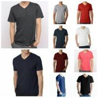 Kaos Oblong Polos Lengan Pendek V-Neck Unisex T-Shirt
