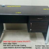 Meja Kantor Kerja 1/2 Biro KAKI BESI PRINT ODS-123 WALNUT MURAH GROSIR