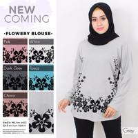 kaos muslim flowery blouse