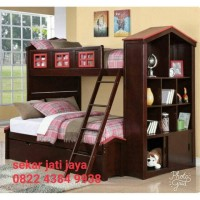 Dipan kamar anak ranjang tempat tidur bunkbed jati jepara