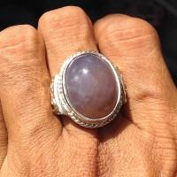 Cincin Alpaka Pria Batu Akik Kecubung Asihan Natural Purple Chalcedony