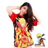 Baju Kaos Bijuu Raglan Hitam Merah Anime Naruto Shippuden Tshirt