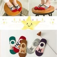 kaos kaki colorful cute cat girls ankle socks bamboo low cut socksD121 - Cokelat
