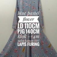 Produksi Baju Muslim Syari blue pastel flower