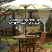 meja kursi payung kayu jati untuk taman cafe hotel kantor villa resto