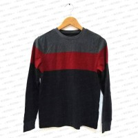 Stylish Sweater Dark Grey Stripe Maroon