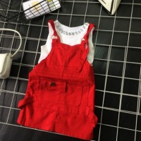Setelan Baju Anak Import Cute Girl Set Overall Skirt Denim Jeans Red G