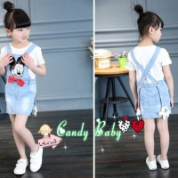 Setelan Baju Anak Import Korea Overall Skirt Jeans Mickey Mouse Head B