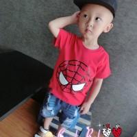 Setelan Baju Anak Laki Import Boy Set Ripped Jeans Pants Spiderman Red