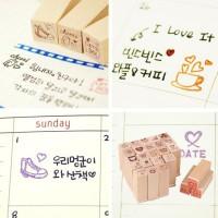 Cap Stempel 25 Motif/Love Diary wooden Rubber Stamps (25pcs)
