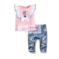 Setelan Baju Anak Import Set Minnie Mouse Renda Ribbon Long Jeans 2in1