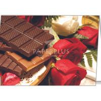 Kartu Ucapan Besar Coklat dan Bunga Mawar