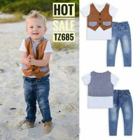 Setelan Baju Anak Import 4in1 Tee Pants Jeans Dasi Rompi Vast Jeans