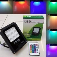 Lampu LED Sorot RGB 3535 10W 220V Flood Light Outdoor HENSEKI