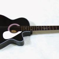gitar akustik pemula hitam glossy free softcase