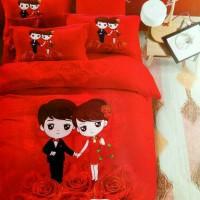 sarung bantal cinta / long pillow motif wedding couple katun jepang