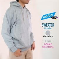 Sweater Hoodie (Jacket) Polos/ Sweater Kupluk - Abu Misty, XL