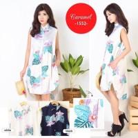 Dress Kemeja Wanita Cewek Floral Bunga-Bunga
