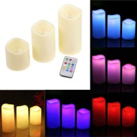 Lampu Hias Lilin LED RGB 3PCS dengan Remote Control Warna