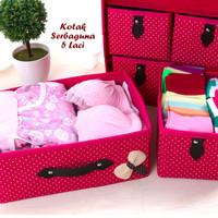Rumah & Dapur | Kotak Serbaguna 5 Laci PURPLE (Kotak utk tempat