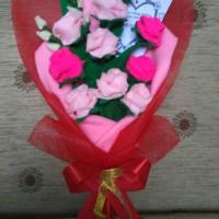 Buket bunga mawar flanel / hand bouquet / buket wisuda, hadiah dll