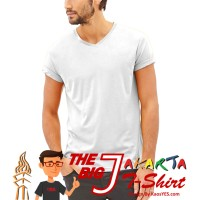 KaosYES Kaos Polos T-Shirt V-NECK LENGAN PENDEK - Putih, S