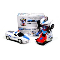 Mainan Mobil Robot Transformers Police Car 2in1