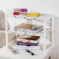 Rak Buku plastik+Stainless Steel - Rak Sepatu portable serbaguna SF21