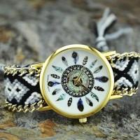 aksesoris wanita jam tangan rajut bohemian style - Hitam