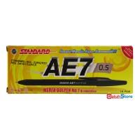 Standard Pulpen AE-7 Alfa Tip 0.5mm - Tinta Hitam 1 Box (12 pcs)