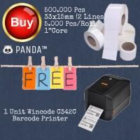 500.000 Pcs 33x15mm Barcode Label free Wincode C342C Barcode Printer