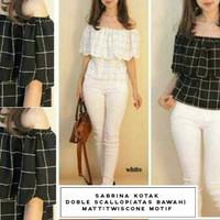 [kotak sabrina RO] blouse wanita twiscont hitam dan putih