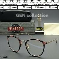 kacamata VINTAGE bingkai ringan oval bulat motif Kombinasi bunga pink