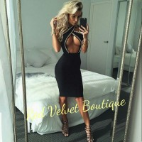 Black Open Bust Sexy Party Gold Chain Midi Dress Club Evening IMPORT