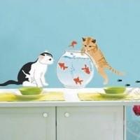 Set Stiker Dekorasi Dinding Motif 2-Ekor Kucing dan Ika Diskon