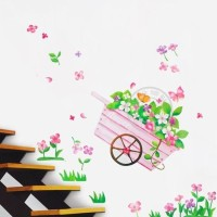 Set Stiker Dekorasi Dinding Motif Kereta Dorong Bunga Terbaik