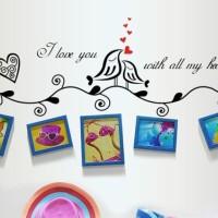 Set Stiker Dekorasi Dinding Motif Sepasang Burung Cinta Diskon