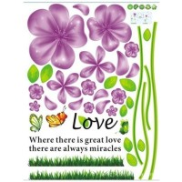 Set Stiker Dekorasi Dinding Motif Bunga, Kupu-Kupu, dan Murah