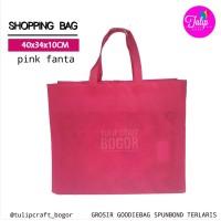 Per 12pc Tas Spunbond 40x35x10cm Pink Fanta Polos Totebag Goodiebag