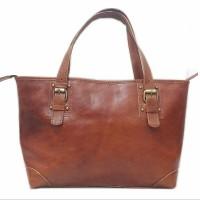 [L] Tote bag wanita kulit sapi asli shoulder leather lembut coklat